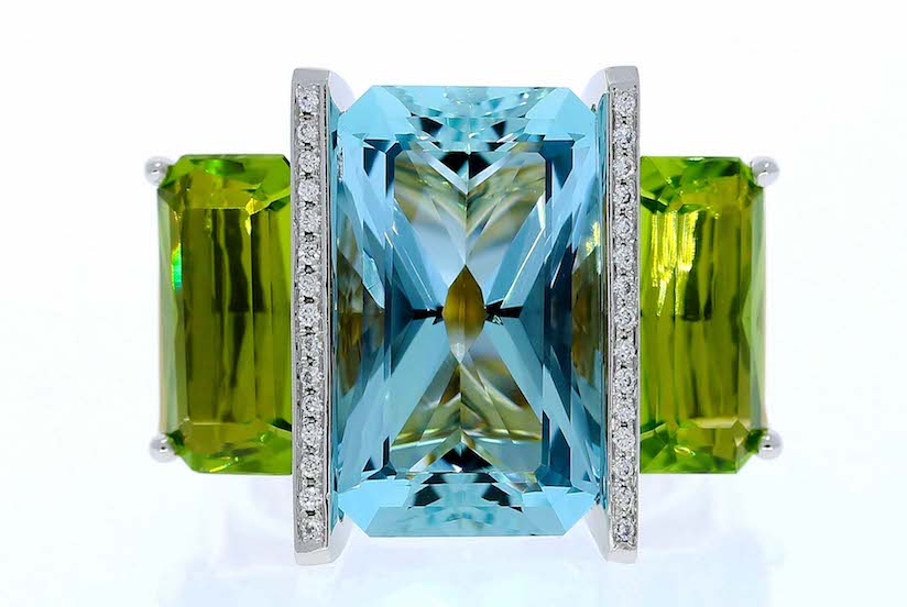 Aquamarine Gemstone with Peridot