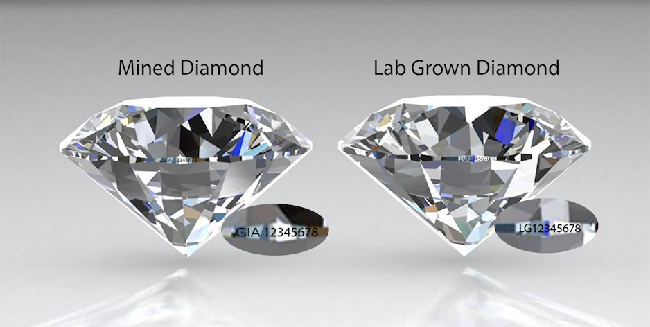 Side by side comparison lab-grown and mined diamonds